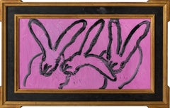 3 Play 9- gestural bunny painting in violet pink and black by Hunt slonem