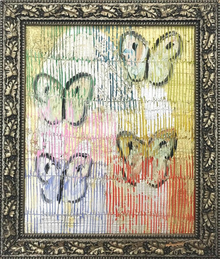 "Hunt Slonem Animal Painting - ""4 Flys"" (Multicolor Butterflies on Gold Background Scoring) Oil on Wood"