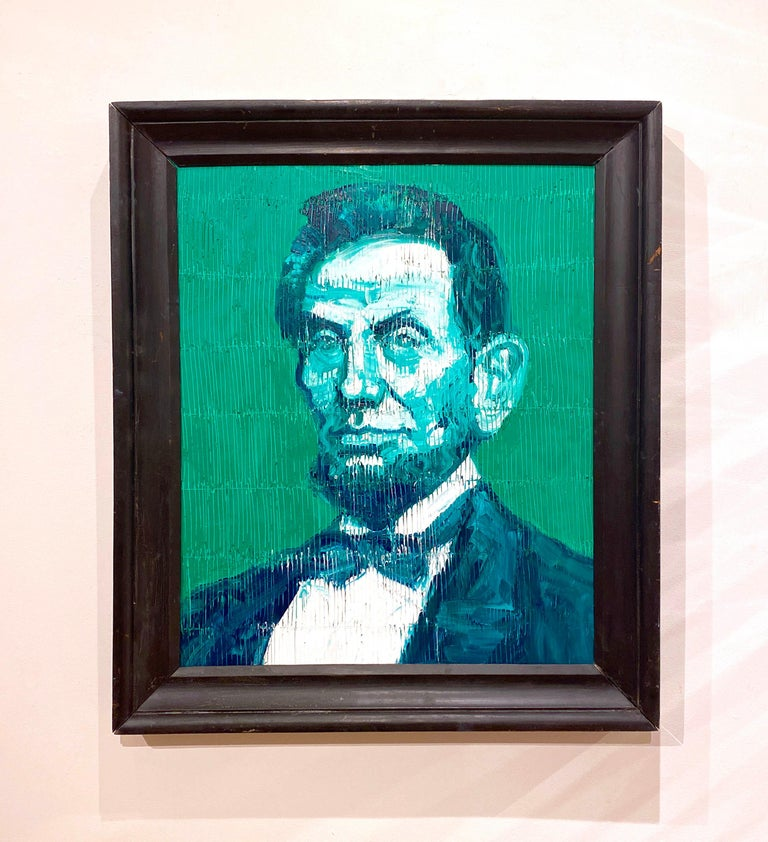 Abraham Lincoln (Green) - Contemporary Painting by Hunt Slonem