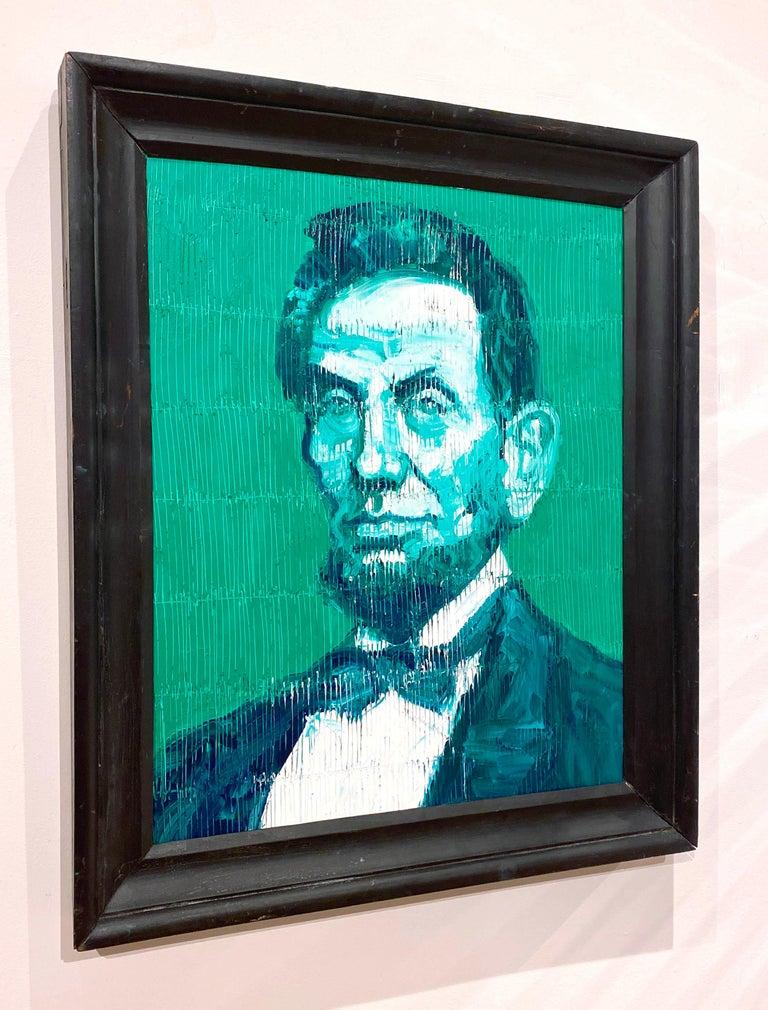 Artist:  Slonem, Hunt Title:  Abraham Lincoln Green Series:  Abe Date:  2020 Medium:  Oil on panel Unframed Dimensions:  27.5