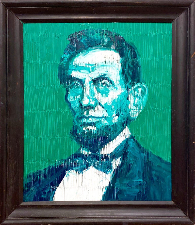 Abraham Lincoln (Green) - Painting by Hunt Slonem