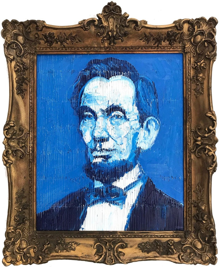 """Hunt Slonem Portrait Painting - """"Abraham Lincoln"""" (Neo-Expressionist Oil Painting in Blue Background on Canvas)"""