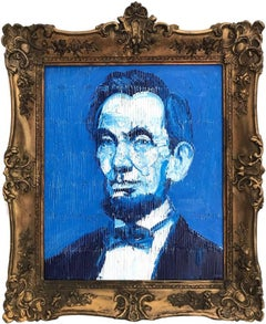 """Abraham Lincoln"" (Neo-Expressionist Oil Painting in Blue Background on Wood)"
