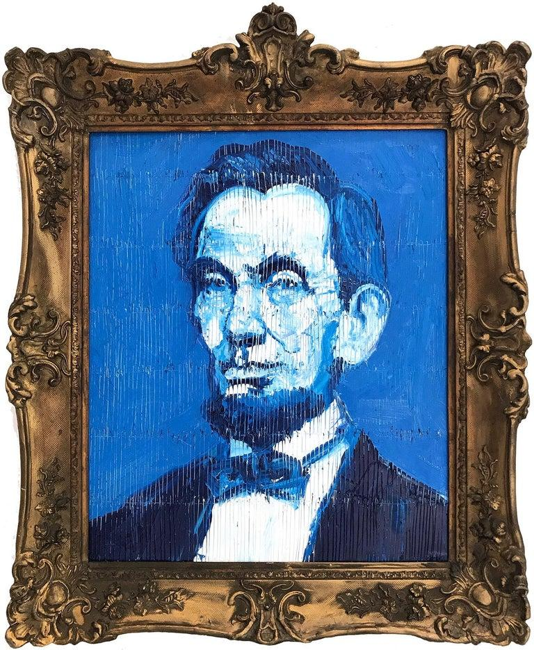 """Hunt Slonem Portrait Painting - """"Abraham Lincoln"""" (Neo-Expressionist Oil Painting in Blue Background on Wood)"""