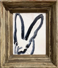 """""""Andrew"""" (Black Bunny on White Background) Oil Painting on Wood Panel"""