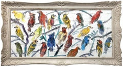 """Barbets To Come"" Multicolored Birds with White Background Oil Painting on Wood"
