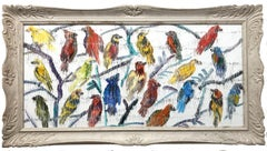"""""""Barbets To Come"""" Multicolored Birds with White Background Oil Painting on Wood"""