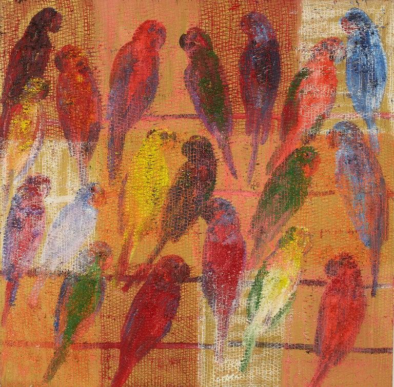 Hunt Slonem Animal Painting - Bayou Casino Lories