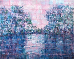 """""""Bayou Teche"""" Blue, Pink and Silver toned Landscape Contemporary Oil Painting"""