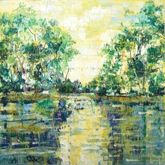 """Bayou Teche"" Green, Yellow and Blue toned Landscape Contemporary Oil Painting"