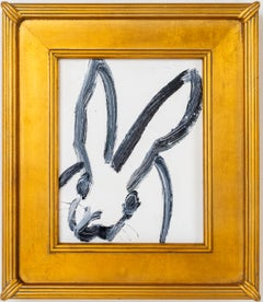 Blanko- white gestural bunny painting by Hunt Slonem