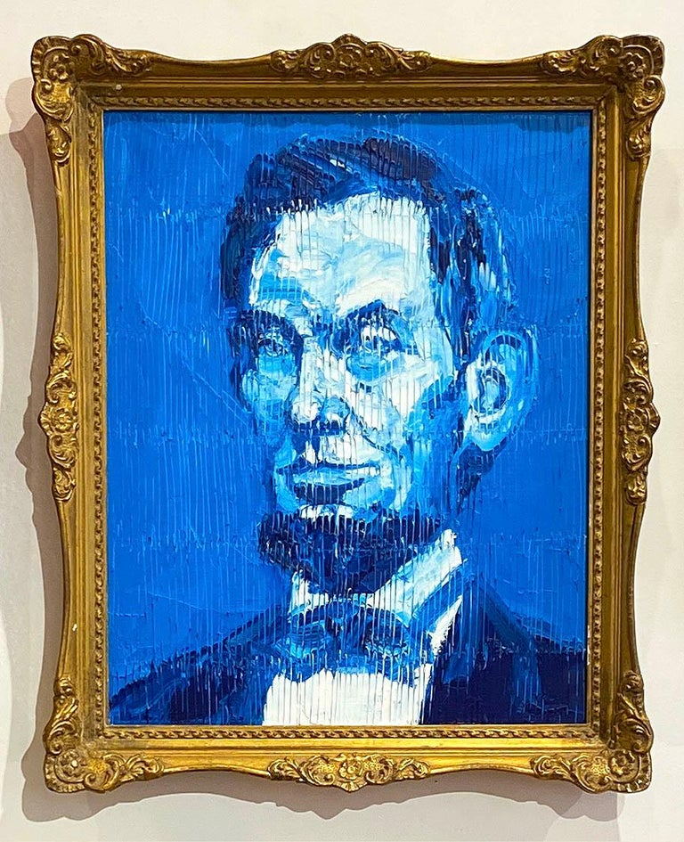 Hunt Slonem Portrait Painting - Blue Abe