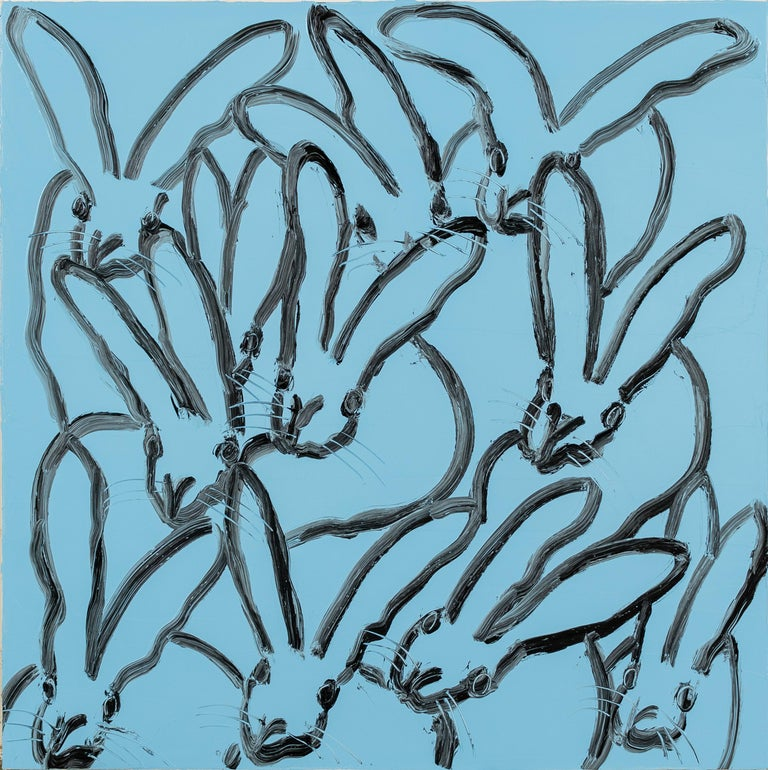 Blue Hutch- square, gestural blue and black bunny painting by hunt slonem - Painting by Hunt Slonem