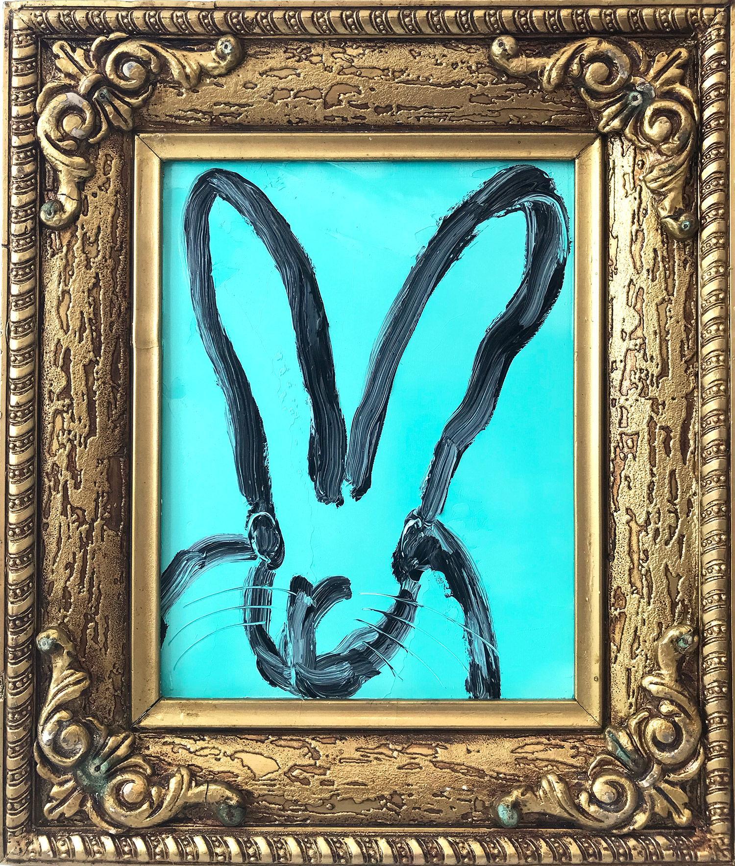 """""""Blue Joy"""" (Black Bunny on Belize Turquoise Background)"""