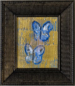 Blues- butterfly painting by Hunt Slonem in blue and gold