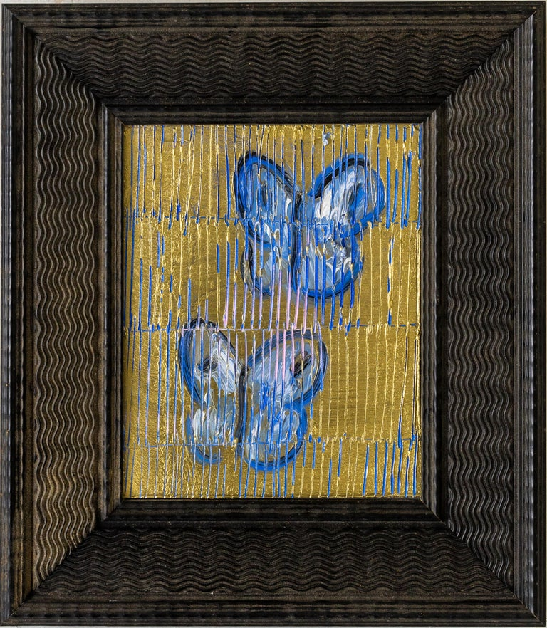 Blue and gold butterfly painting by Hunt Slonem  in vintage frame.  Painting: 10 x 8 inches Framed: 16 x 14 inches New York painter, Hunt Slonem is best known for his Neo –Expressionist paintings of bunnies, tropical birds and other exotic flora and