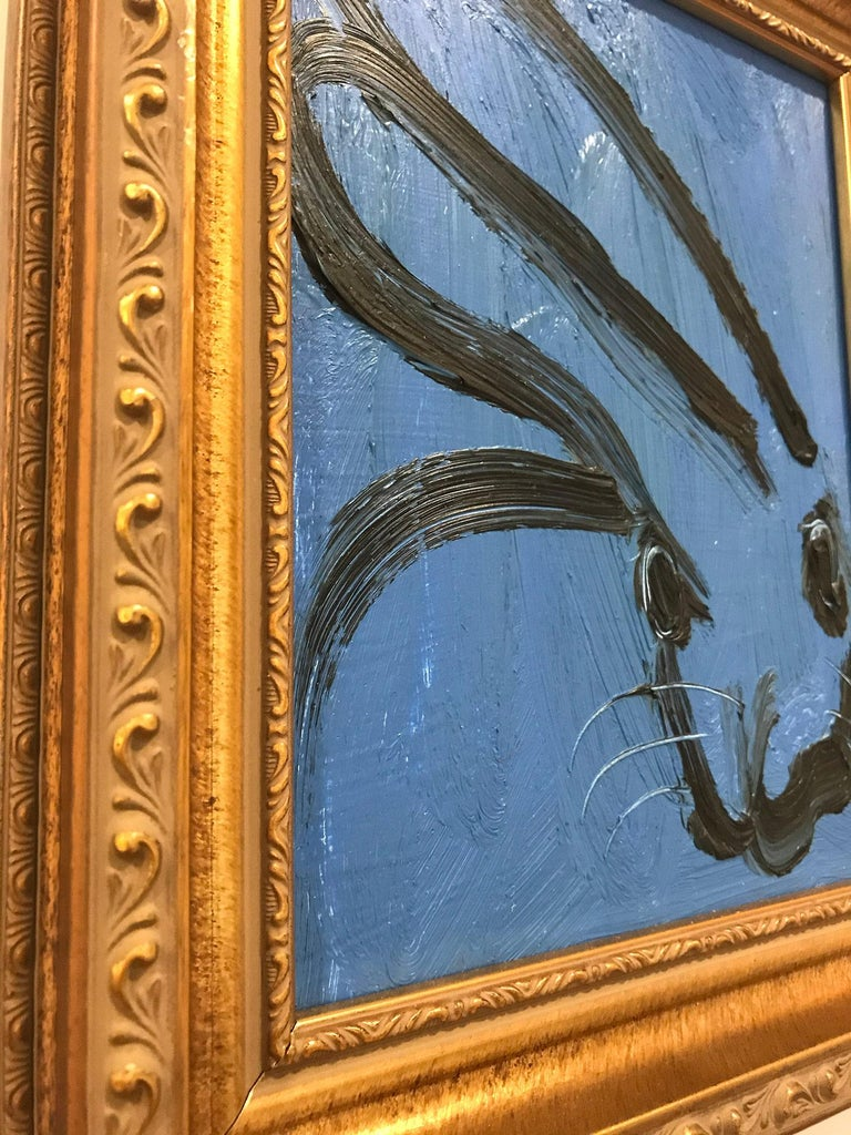 Blusy (Black Outlined Bunny on Royal Blue Background) - Painting by Hunt Slonem