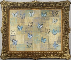 Buckeye- oil painting by Hunt Slonem in gold and blue with ornate vintage frame