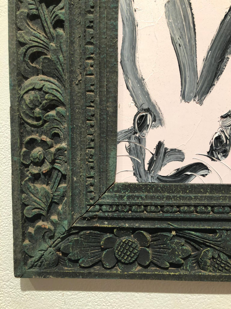 Bunny, Black on White, Antique Dark Green Ornate Frame, Original Oil Painting - Brown Animal Painting by Hunt Slonem