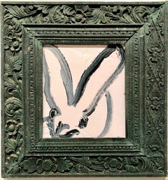 Bunny, Black on White, Antique Dark Green Ornate Frame, Original Oil Painting