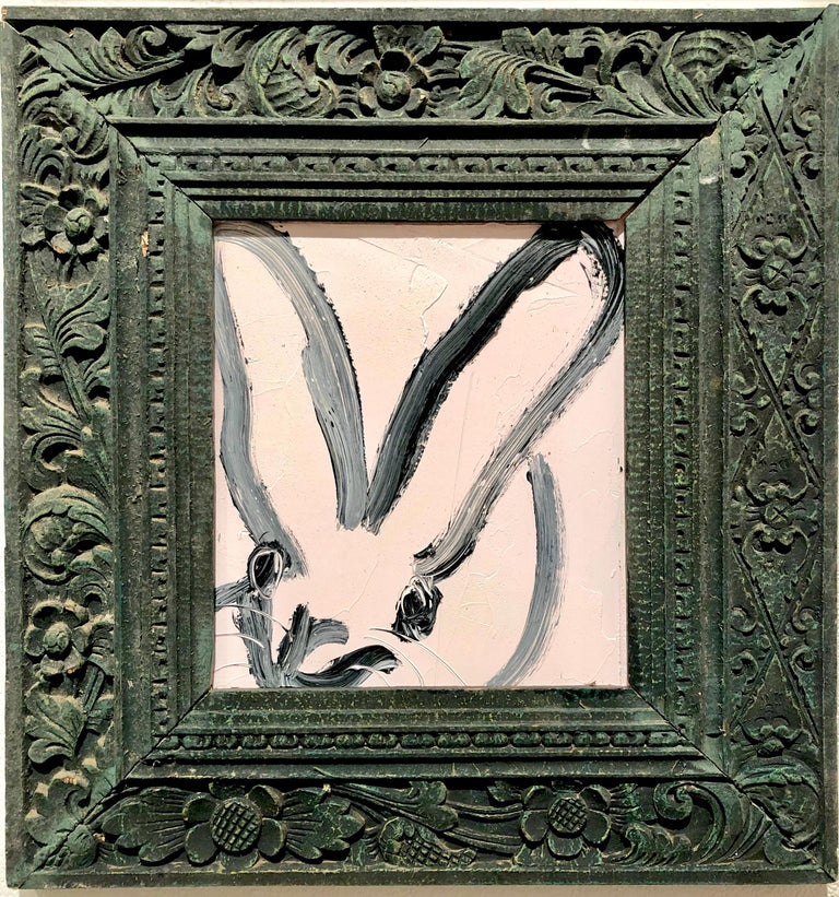 Hunt Slonem Animal Painting - Bunny, Black on White, Antique Dark Green Ornate Frame, Original Oil Painting