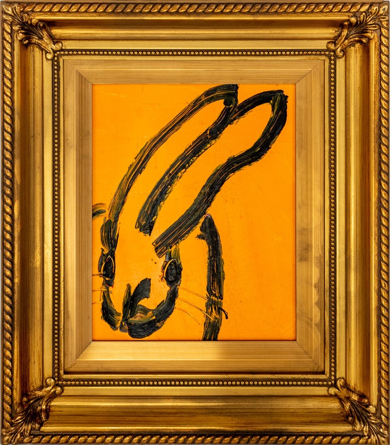Cadmium orange gestural bunny painting in vintage frame by Hunt Slonem.   Painting: 10 x 8 inches Framed: 16 x 14 inches   New York painter, Hunt Slonem is best known for his Neo –Expressionist paintings of bunnies, tropical birds and other exotic