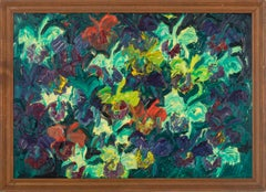 Catelayas- Neo-expressionist oil painting of flowers by Hunt Slonem