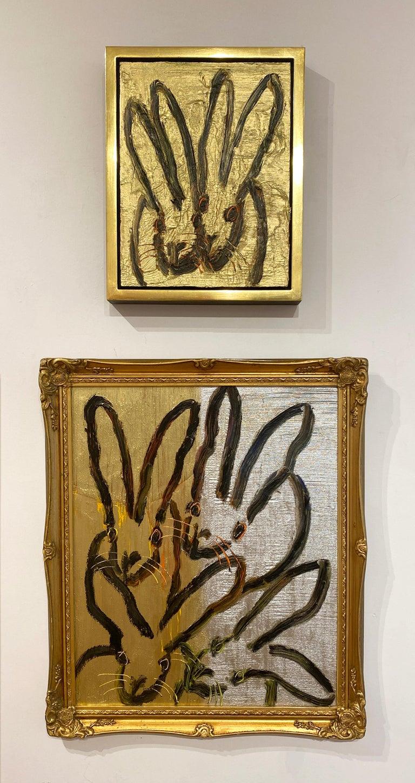 Artist:  Slonem, Hunt Title:  Couple Series:  Bunnies Date:  2020 Medium:  Oil on panel Unframed Dimensions:  14 x 10.75
