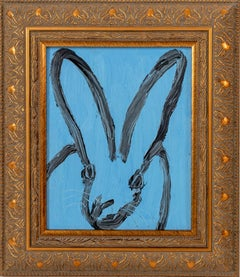 """""""Edit"""" (Black Outlined Bunny on Periwinkle Blue Background) Oil Painting on Wood"""