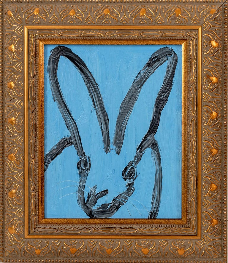 """Hunt Slonem Animal Painting - """"Edit"""" (Black Outlined Bunny on Periwinkle Blue Background) Oil Painting on Wood"""