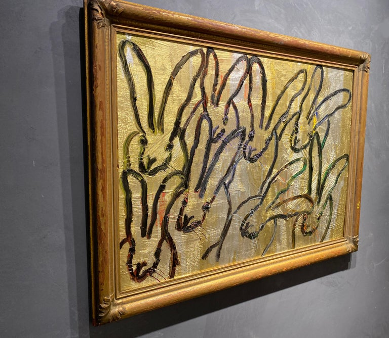 Eight- gestural gold and black oil painting in gold frame by hunt slonem For Sale 2