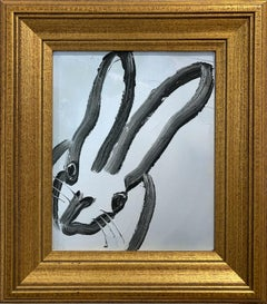 """""""Fare Well"""" (Black Outlined Bunny on Light Blue Background) Oil Painting"""