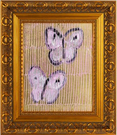 Field by Hunt Slonem- pink, gold and black framed butterfly painting