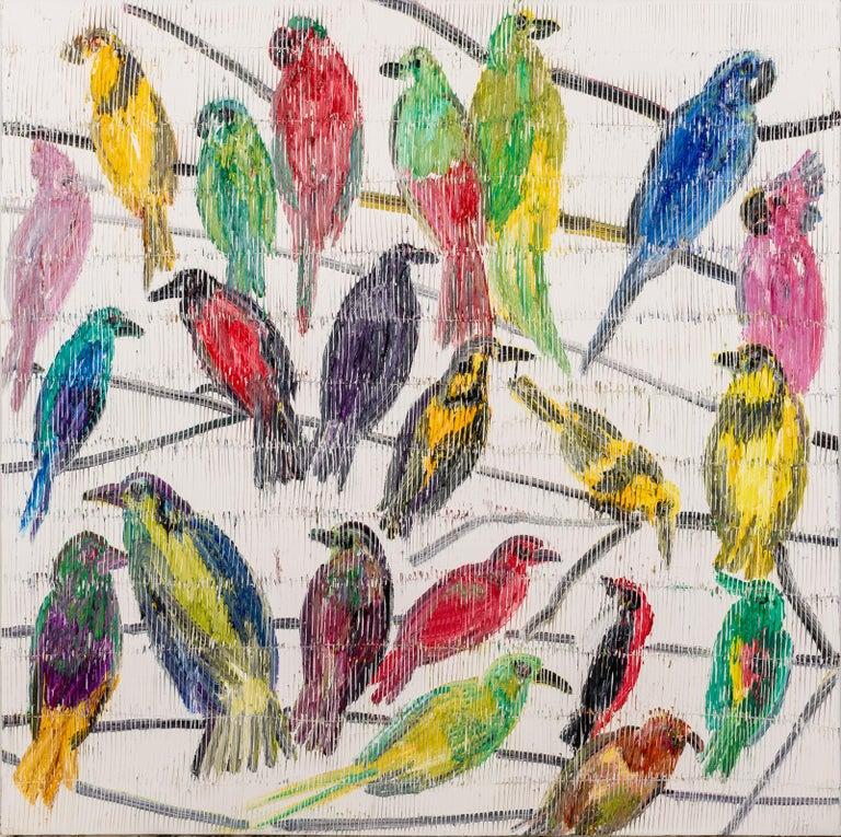 Hunt Slonem Animal Painting - Fruit Doves & Bee Eaters