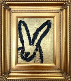 """Gold"" (Black Outlined Bunny on Gold Background) Oil Painting on Wood Panel"