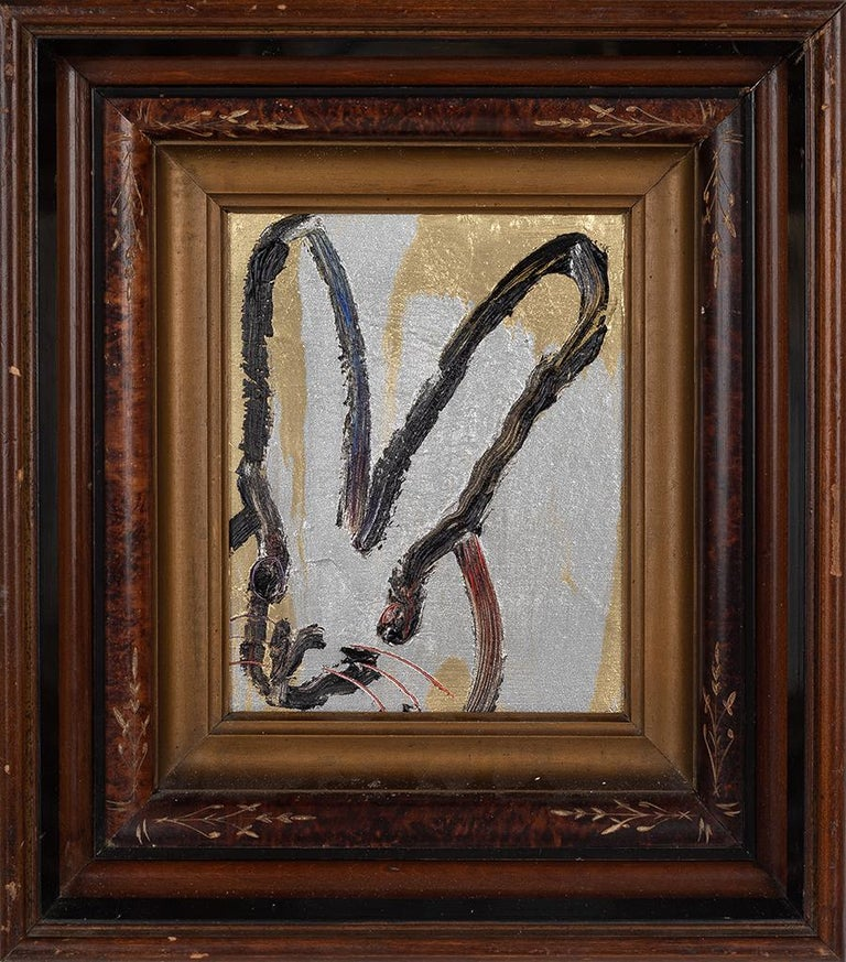 Hunt Slonem Animal Painting - Gold & Silver Bunny