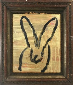 """Golden"" (Black Bunny on Gold Background with Multi Colored accents) Oil on Wood"