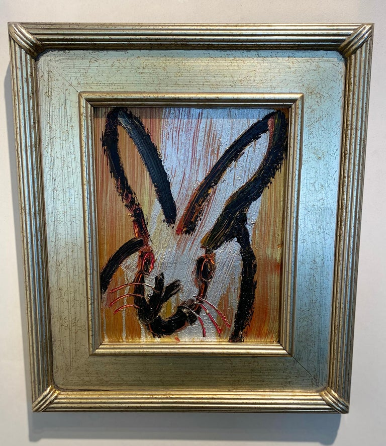 Golden- Neo- Expressionist bunny painting by Hunt Slonem For Sale 1