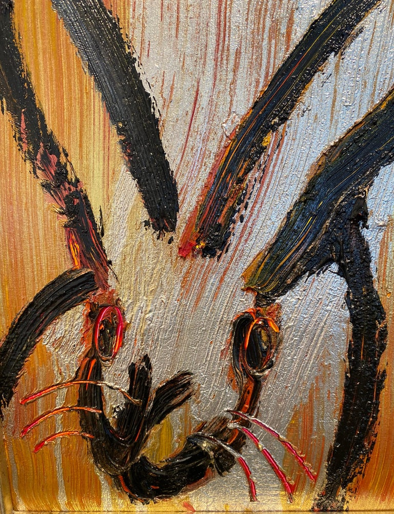 Golden- Neo- Expressionist bunny painting by Hunt Slonem For Sale 3