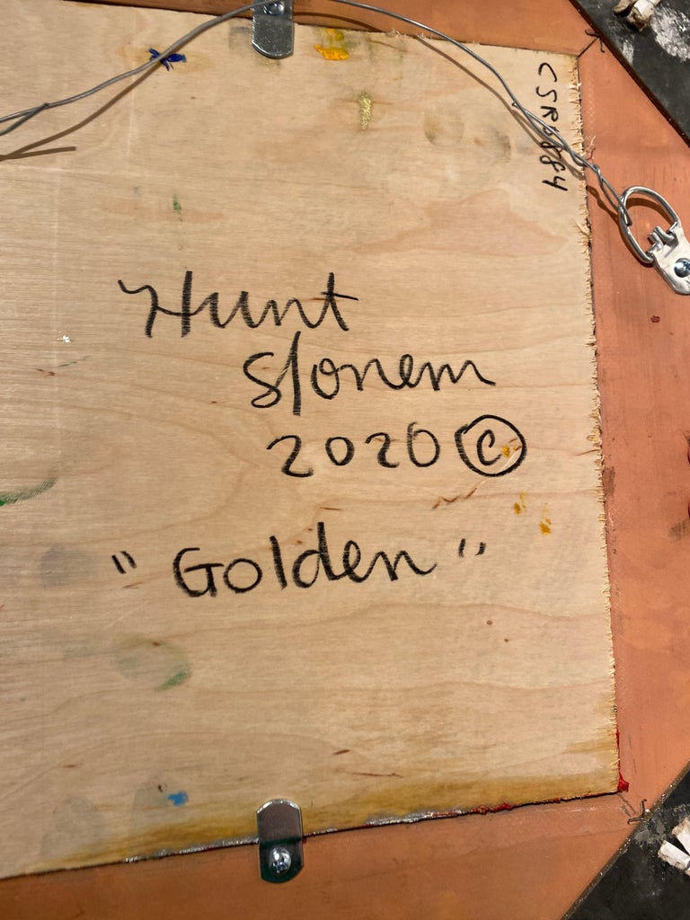 Golden- Neo- Expressionist bunny painting by Hunt Slonem For Sale 4
