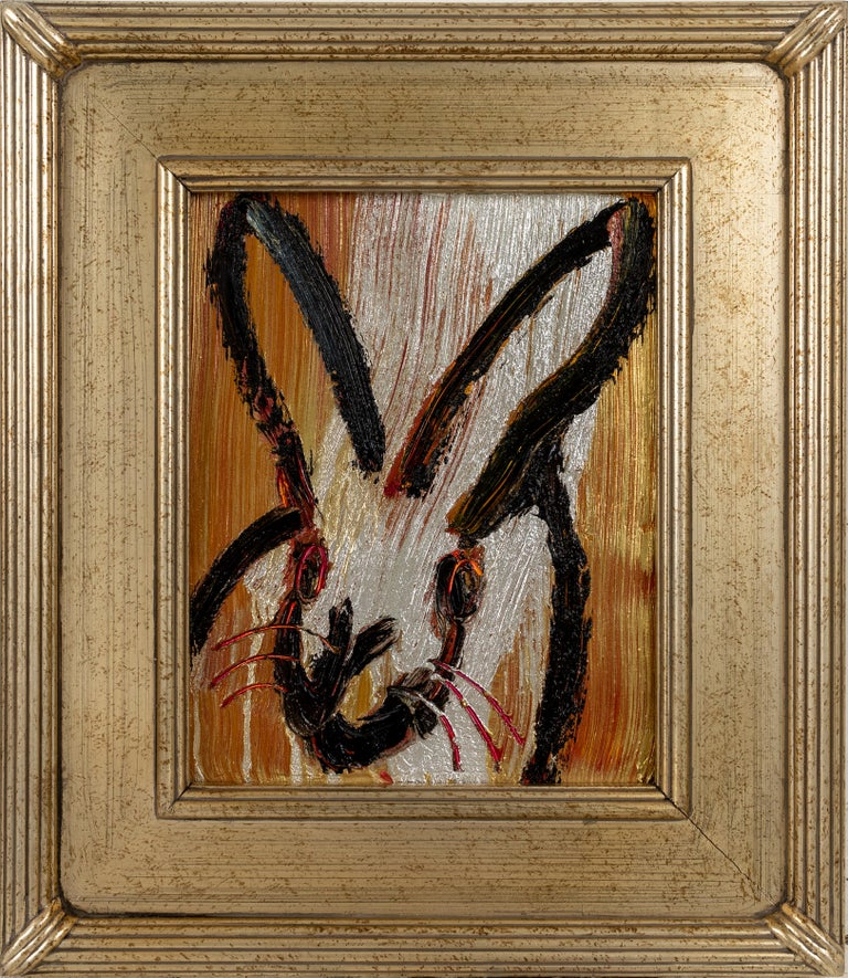 Painting size: 10 x 8 inches  Framed Size: 15 x 13 inches This gold, silver, bronze and black bunny demonstrates Hunt Slonem's  neo-expressionist style. Framed in a vintage frame.   These layered, and thickly painted smaller pieces exemplify his