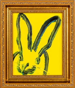 """Gracie"" (Black Outlined Bunny on Electric Yellow) Oil Painting on Wood Panel"