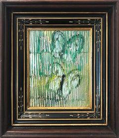 """Green Wave"" (Butterflies on Golden Background Scoring) Oil on Wood Panel"