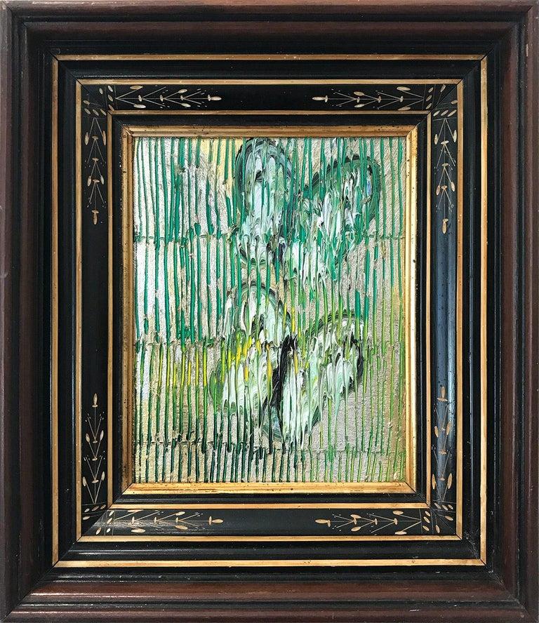 "Hunt Slonem Animal Painting - ""Green Wave"" (Butterflies on Golden Background Scoring) Oil on Wood Panel"