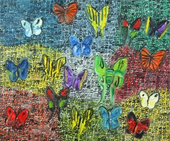 Guardians Butterflies Fri oil on canvas painting by artist Hunt Slonem