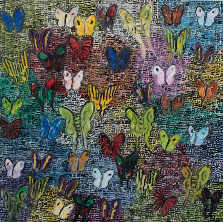 Hunt Slonem Animal Painting - Guardians & Butterflies Saturday