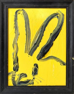 """Hal"" (Black Bunny on Royal Yellow Background) Oil Painting on Wood Panel"