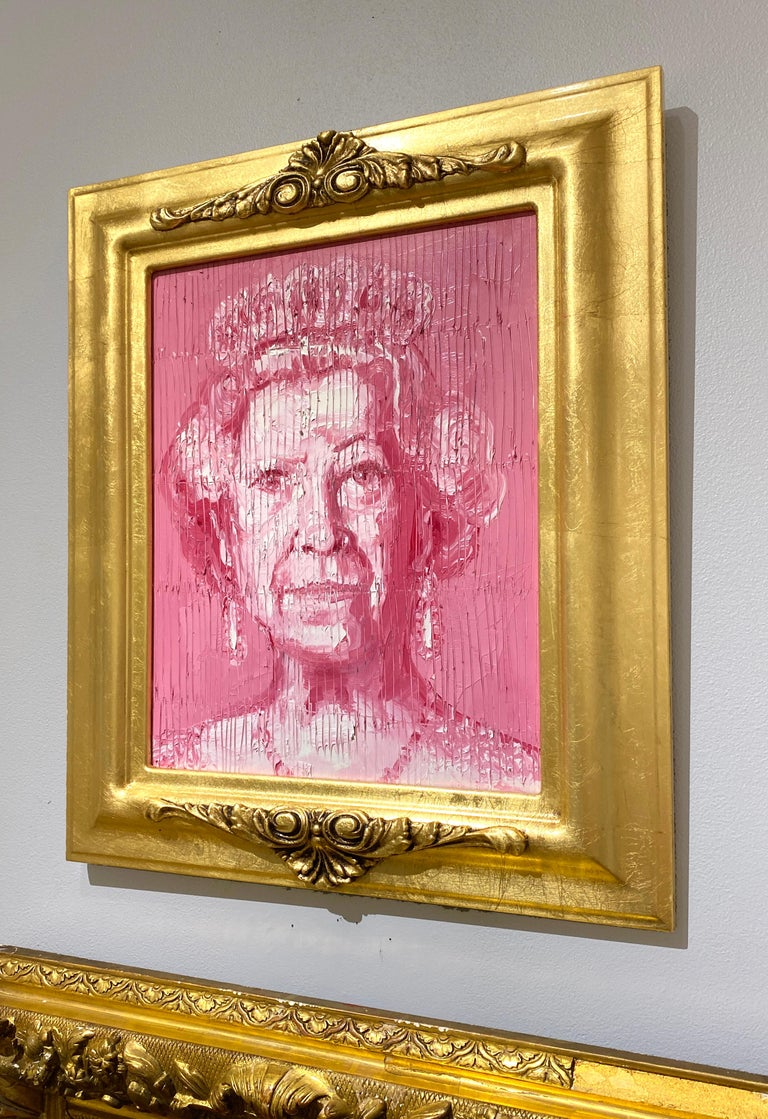 Her Majesty - Brown Portrait Painting by Hunt Slonem