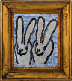 """Hunt Slonem """"2 Blue"""" Silver and Blue Double Bunnies"""