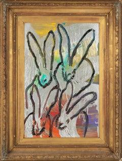 "Hunt Slonem ""4 More"" Rainbow Metallic Bunnies"